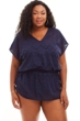 Anne Cole Navy Plus Size Crochet Cover Up Tunic