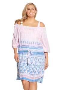 Always For Me Blue and Pink Island Chic Plus Size Cover Up Dress