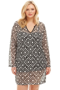 Always For Me Black and White Geo Pattern Plus Size Long Sleeve V-Neck Tunic