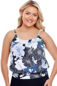 Shape Solver Plus Size Chelsea Floral Blouson Tankini Top