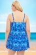 Penbrooke Blue and White Porcelain Plus Size Single Tier Swimdress