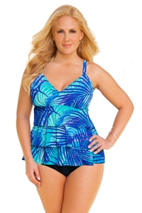 Shape Solver Safari Stripe Plus Size Triple Tier Fauxkini One Piece Swimsuit