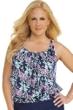 Shape Solver Prairie Dance Plus Size Shirred Blouson Underwire Tankini Top