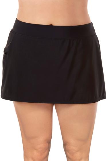 Shape Solver Black Plus Size Swim Skirt with Zipper Pocket