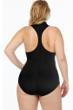 Magicsuit Black Plus Size Scuba Coco Zip Front Racerback Underwire One Piece Swimsuit