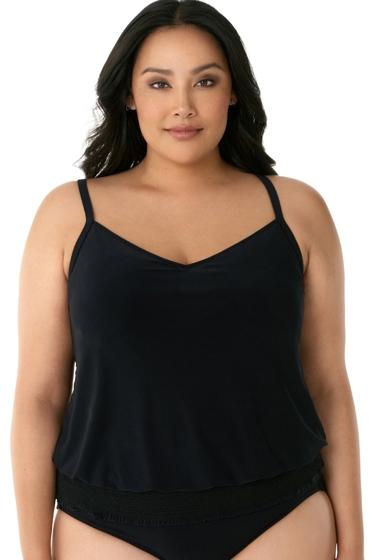 Magicsuit Black Plus Size Justina Blouson Tankini Top