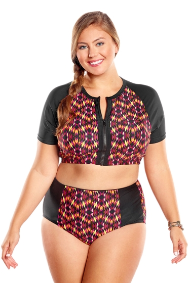Always For Me Aztec Summer Plus Size Zip Bikini Set
