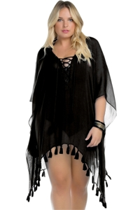 Becca ETC by Rebecca Virtue Plus Size Black Color Play Lace Up Tunic
