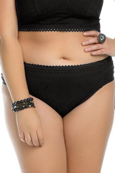 Becca ETC by Rebecca Virtue Plus Size Prairie Rose Black Side Shirred Hipster Bikini Bottom