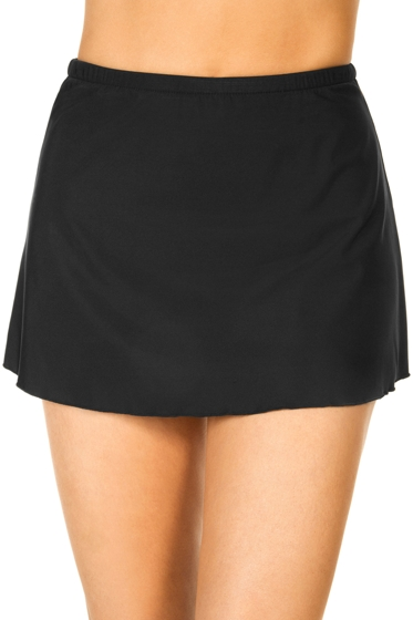 Miraclesuit Plus Size Solid Black Swim Skirt