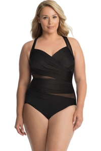 Miraclesuit Plus Size Solid Black Net Work Madero Underwire One Piece Swimsuit