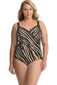 Miraclesuit Plus Size Opposites Attract Sanibel Surplice Underwire One Piece Swimsuit