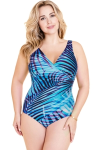 Miraclesuit Plus Size Palm Reader Oceanus Surplice One Piece Swimsuit