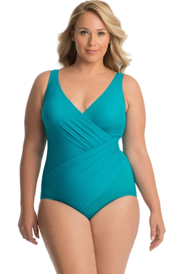 Miraclesuit Plus Size Amalfi Oceanus Surplice One Piece Swimsuit