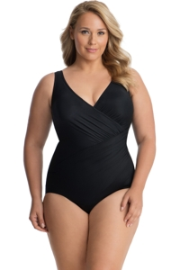 Miraclesuit Plus Size Black Oceanus Surplice One Piece Swimsuit
