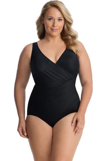 Miraclesuit Plus Size Black Oceanus Surplice One Piece Swimsuit