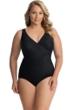 Miraclesuit Black Plus Size Oceanus Surplice One Piece Swimsuit