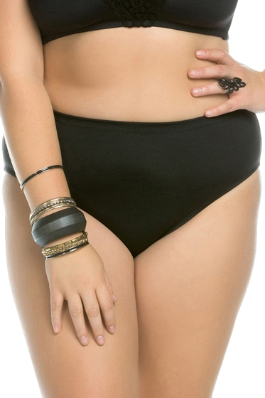 Becca ETC by Rebecca Virtue Plus Size Black Beauties Full Coverage BIkini Bottom