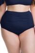 Becca ETC by Rebecca Virtue Indigo Color Splash Shirred High Waisted Plus Size Bikini Bottom