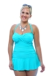 Always For Me Aqua Plus Size Twist Front Bandeau One Piece Swimsuit