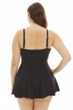 Always For Me Solid Plus Size Twist Front Bandeau Strapless Shirred Swimdress
