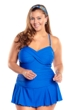 Always For Me Ocean Blue Plus Size Twist Front Bandeau One Piece Swimsuit