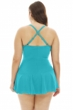 Always For Me Peacock Plus Size Illusion Ring Front Shirred Swimdress