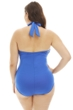 Kenneth Cole Blue Ready to Ruffle Plus Size High Neck One Piece Swimsuit