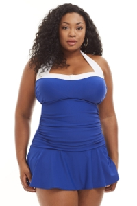 Always For Me Blue and White Santorini Plus Size Swimdress
