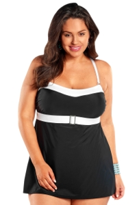 Always For Me Black and White Plus Size Selene Swimdress