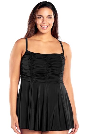 Always For Me Black Plus Size Jet Cami Swimdress