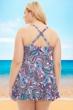 Always For Me by Fit 4U Vineyard Paisley Plus Size Two Piece Swimdress Set