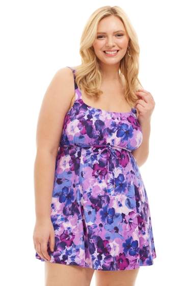 Always For Me by Fit 4U Violet Plus Size Swimdress