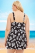 Always For Me by Fit 4U Black and White Moonflower Plus Size Swimdress