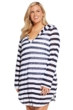 Always For Me Striped Plus Size Long Sleeve Hooded Cover Up Tunic