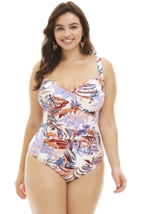 La Blanca White Botanical Garden Plus Size Sweetheart One Piece Swimsuit