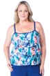 Maxine of Hollywood Blue Watercolor Tropical Plus Size Tiered Tankini Top