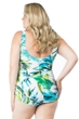 Maxine of Hollywood Teal Palm Beach Plus Size Shirred Front Girl Leg One Piece Swimsuit