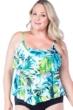 Maxine of Hollywood Teal Palm Beach Plus Size Tankini Top