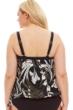 Maxine of Hollywood Black and White Deco Plus Size Blouson Tankini Top
