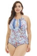 Kenneth Cole Blue Daydreamer Paisley Plus Size High Neck One Piece Swimsuit