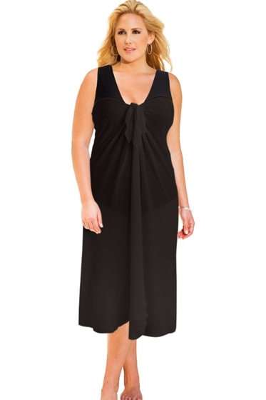 Always For Me Sun Diva Black Plus Size Long Pareo Cover Up