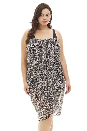 Always For Me Tribal Batik Black and White Plus Size Pareo Sarong Cover Up