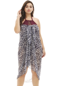 Always For Me Tribal Batik Navy and White Plus Size Pareo Sarong Cover Up