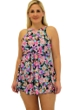 Always For Me Fit 4U Swim Love Story Coral Plus Size Fit 4 Ur Thighs High Neck Baby Doll Swimdress