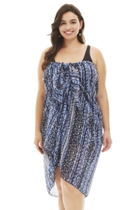 Always For Me Black and Blue Water Waves Plus Size Batik Pareo Sarong Cover Up