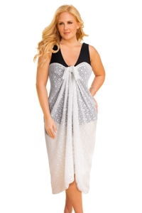 Always For Me Clipped Jacquard White Plus Size Long Pareo Cover Up
