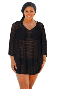 Jordan Taylor Arrow Chevron Black Plus Size Textured V-Neck Lace Bell Sleeve Cover Up Tunic