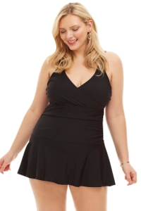 Always For Me Black Plus Size Nicole Underwire Swimdress