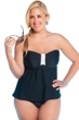 Always For Me Black Plus Size Macrame Underwire Tankini Top with Matching Tankini Bottom